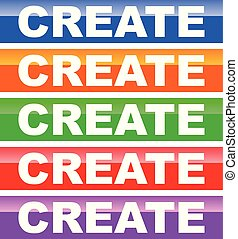 Button in 5 color with Create word