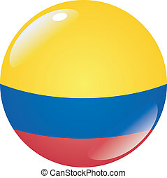 button in colors of Colombia