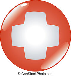 button in colors of Switzerland