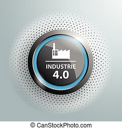 Button Industrie 4.0 Halftone - Button with german text...