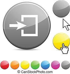 button., ingang, glanzend