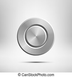 Button isolated on grey background. Vector realistic design element.