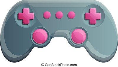 Button joystick icon, cartoon style