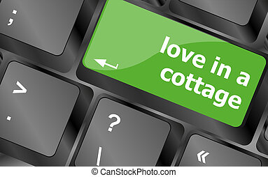 button keypad keyboard key with love in a cottage words