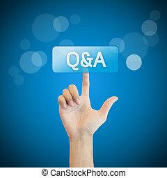button., mão, q&a., apertando, perguntas, perguntar, homem