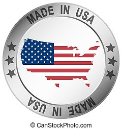 button Made in USA - round button with silver frame and text...