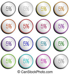 Button Minimal 5 PERCENT - Shiny metal Button with different...