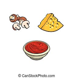 Button mushrooms, cheese and tomato sauce - Pizza, pasta...