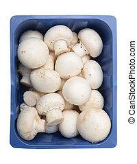 Button mushrooms in a tray - Button mushrooms, Agaricus...