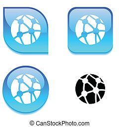 button., netwerk, glanzend