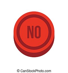 Button no in circle icon, flat style