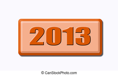 Button of 2013 isolated on white background