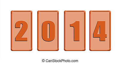 Button of 2014 isolated on white background