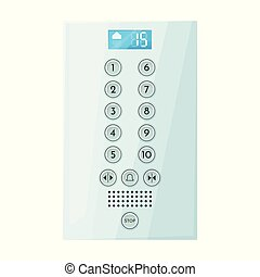 Button of elevator vector icon. Cartoon vector icon isolated on white background button of elevator .