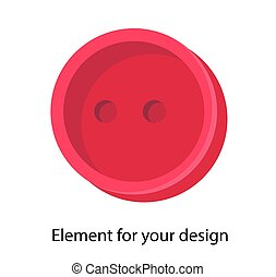 Button on a white background. Vector isolated element. Red. Accessory for sewing..