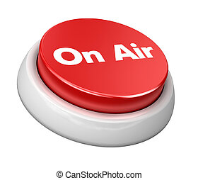 Button on air - Image of 3d red button. White background.