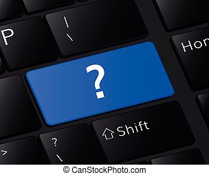 ? button on keyboard. Question mark concept