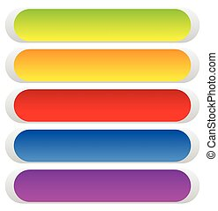 Button or banner backgrounds, tags, labels in 5 color