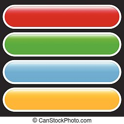 Button or banner elements. Colorful label, tag for your messages. Abstract rectangular button shape, button background series