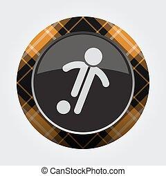 button orange, black tartan - football player icon
