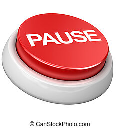Button PAUSE - 3d image of button PAUSE. White background.