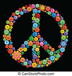 Peace sign made from bright colored buttons