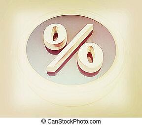 Button percent. 3D illustration. Vintage style.