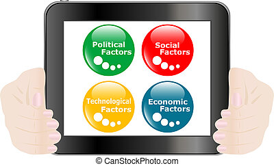 button PEST analysis concept icon on digital tablet pc
