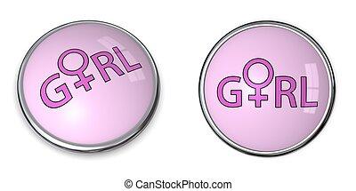 Button Pink Word Girl/Female Gender Symbol