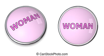 Button Pink Word Woman