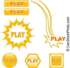 button PLAY glossy web icons