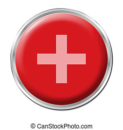 Button Plus - a round red button with a symbol plus