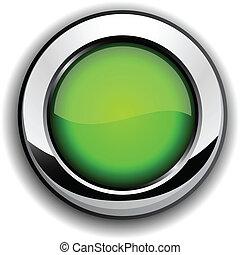 button., połyskujący, zielony