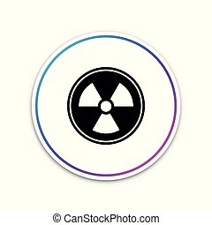 button., radioactif, signe., radiation, isolé, danger, symbole., arrière-plan., vecteur, illustration, toxique, cercle blanc, icône