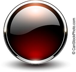 Button red glossy