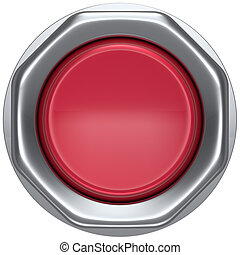 Button red start turn on off action push down activate...