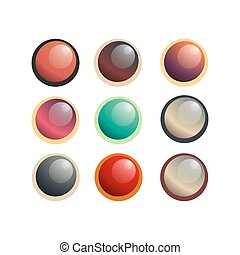 Button round circle icon vector label set, web symbol design illustration isolated