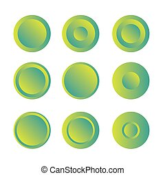 Button round with gradient vector set