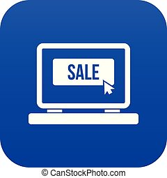 Button sale on laptop icon digital blue