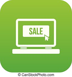 Button sale on laptop icon digital green