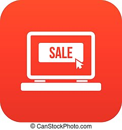 Button sale on laptop icon digital red