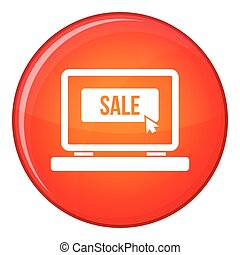 Button sale on laptop icon, flat style