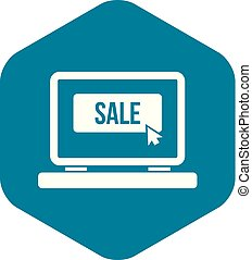 Button sale on laptop icon, simple style
