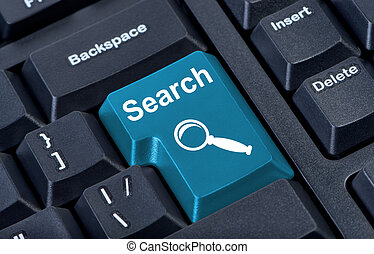 Button search with icon magnifier, internet concept.