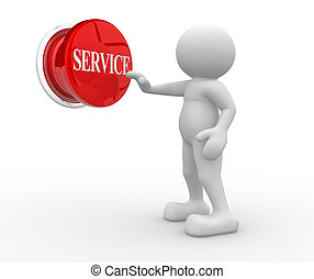 """Button """"service"""" - 3d people- human character pressing a..."""