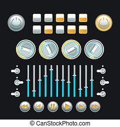 Button Set Colored - Computer and analog technique button...