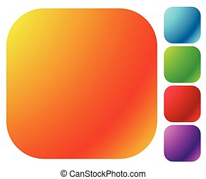 Button shapes, backgrounds in 5 bright glossy color