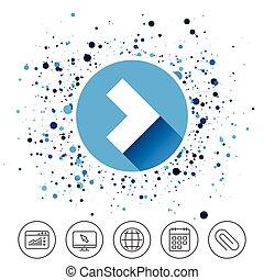 button., sinal, seta, icon., logo, navegação, símbolo.