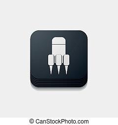 button:, skwer, rakieta