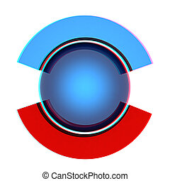 Button sphere and two poles. 3D illustration. Anaglyph. View with red/cyan glasses to see in 3D.